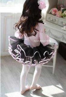 Leotard Ballet Tutu Costume Dance Dress 3 8Y Middle Sleeve Pink+Black