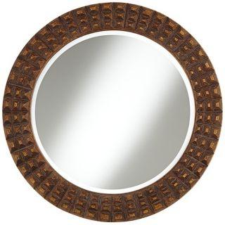 """Weiden Raised Relief 32"""" Wide Bronze Wall Mirror   #W9001"""