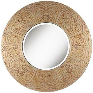 framed round circle wall mirror bath vanity home decor