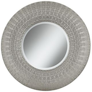 "Pounded Metal 29"" High Rounded Wall Mirror   #X3215"