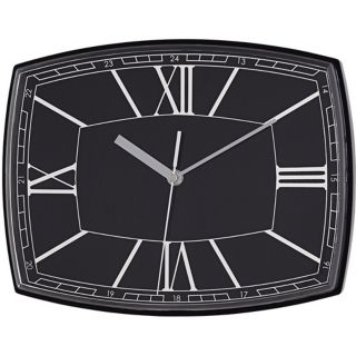 "Roman Numeral 12"" Wide Black Rectangular Clock   #W6380"