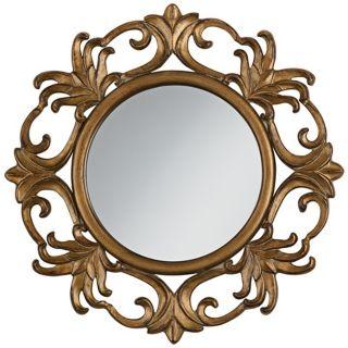"""Dark Antique Gold Openwork 29"""" Wide Round Wall Mirror   #V4310"""
