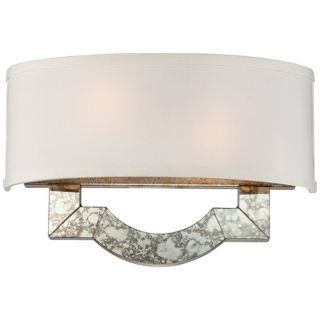"Antique Silver Mirror 14 1/4"" Wide ADA Compliant Wall Sconce   #U8211"