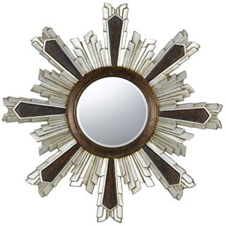 "Chafe 40"" Round Walnut and Silver Wall Mirror   #X6932"