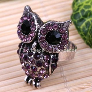 Purple Adjustable Tibet Silver Crystal Owl Ring Jewelry