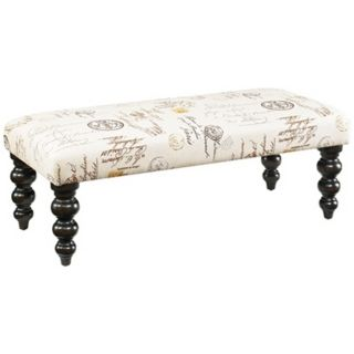 Hidden Treasures French Script Linen Bench   #Y2155