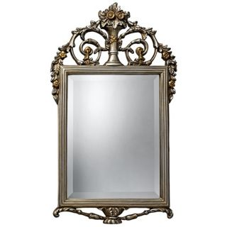 "Stewart 31"" High Antique Silver and Gold Wall Mirror   #X7116"