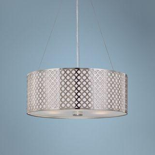 "Lite Source 20"" Wide 3 Light Polished Steel Pendant Light   #U8632"