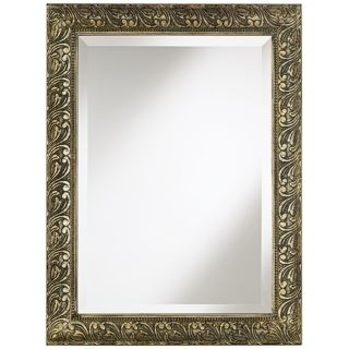 """Champagne Washed Traditional Framed 33 1/2"""" High Wall Mirror   #T6458"""