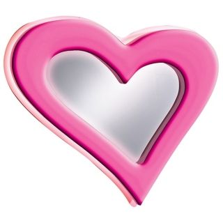 "Neon Pink Heart 23 1/2"" Wide Wall Mirror   #00239"
