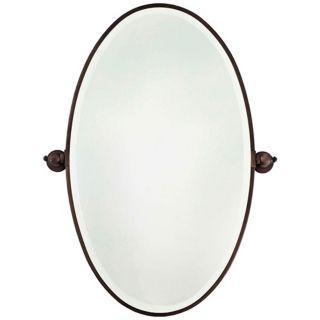 "Minka 36"" High Oval Brushed Bronze Bathroom Wall Mirror   #U8973"