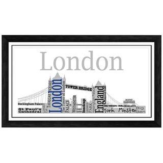 """London City Skyline 28 1/2"""" Wide Framed Wall Art   #W9335"""