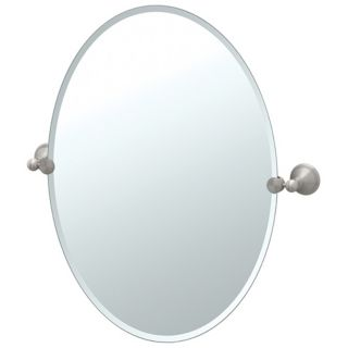 "Gatco Laurel Avenue Satin Nickel 32"" High Oval Wall Mirror   #P5376"