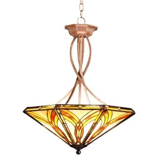 Tiffany Amber Glass Inverted Pendant Chandelier   #87268