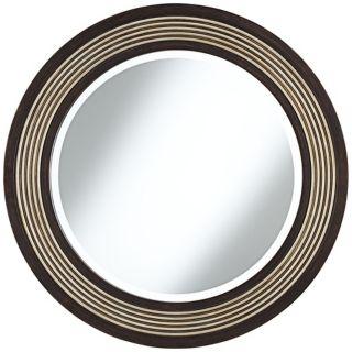 """Diedrich Espresso and Champagne 30"""" Round Wall Mirror   #W4274"""