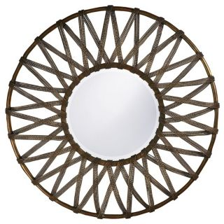 Lucy Roped Antique Silver 32 Round Wall Mirror   #R2039