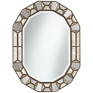 "Bronze Cut Corner 35 1/2"" High Glass Oval Wall Mirror   #X5841"