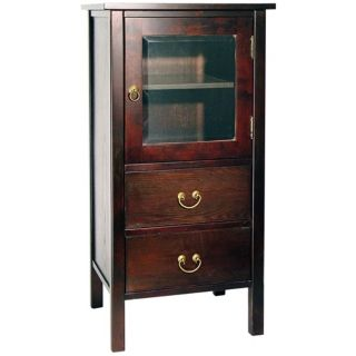 Rovena Mahogany Wood Cabinet with Glass Pane Drawer   #H2208