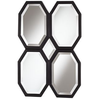 "Quatre Octagons 36"" High Black Wall Mirror   #W4209"