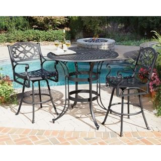 Biscayne Black 3 Piece Outdoor Bistro Table and Chairs   #T1300