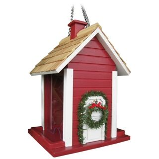 Red Christmas Cottage Bird House   #M8924