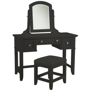 Bedford Ebony Wood Vanity Table & Bench   #W3355