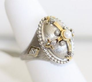 Jude Frances Sterling Silver 18K Gold Pearl Diamond Ring