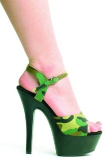 Camo 6 Heel Camouflage Sandals Ellie Shoes 601 Juliet M Grn