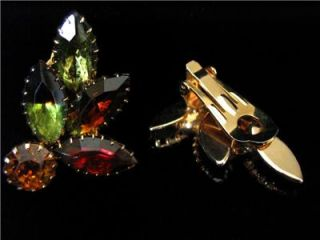 Julianna Autumn Leaves Clip on Earrings Vintage Multi Color