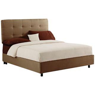Khaki Microsuede Tufted Bed   #N6203