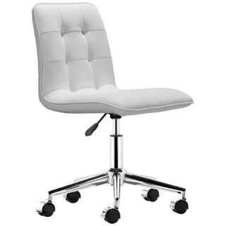 Zuo Scout White Armless Office Chair   #T2476