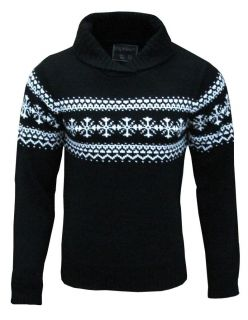 Fly Guy Mens Nordic Style Fair Isle Knitted Jumper black / white 1730