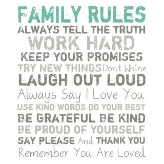 """Family Rules Blue 20"""" High Motivational Wall Art   #Y0514"""