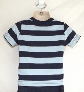 Jumping Beans Boys Blue Striped Home Run Champ Tee T Shirt Size 6 to 9