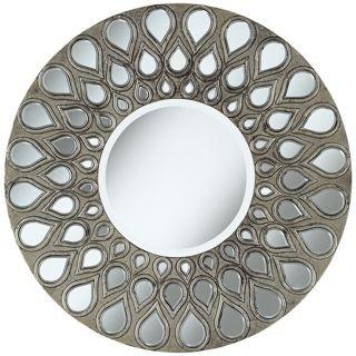 "Silver Teardrop 32"" Round Wall Mirror   #W3840"