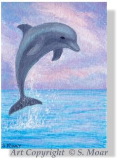 Dolphin Jumping Sunset Ocean Seascape Sea Landscape ACEO Original Art