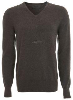 Burton Mens V Neck Jumper Sweater Plain Top Black Grey Wool