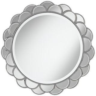 "Silver Petal Round 28"" Wide Sunburst Wall Mirror   #T4580"