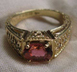 Pink Tourmaline Diamond 1 42ctw VINTAGE14K Yellow Gold Ring Sz7