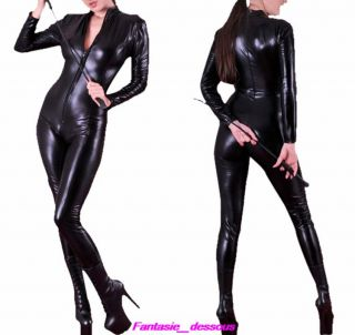 Blk Goth Punk PU Faux Leather Catsuit Teddy Zipperfront Clubwear