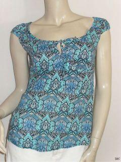 Ann Taylor Size 4 100% Tissue Cotton Blue Print Keyhole Cap Sleeve
