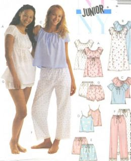 Junior Nightgown Top Camisole Shorts Pants Bloomers Sewing Pattern NY