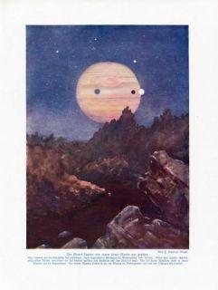 C1900 Jupiter Planet Astronomy Antique Litho Print w Bolsche