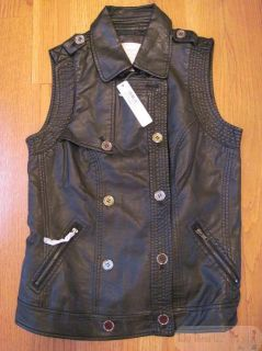 Romeo Juliet Black Faux Leather Motorcycle Vest Blazer Jacket Size M $