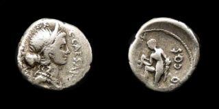 RARE Julius Caesar Ancient Roman Silver Denarius Venus Prow Triskeles