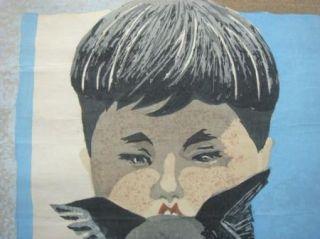 Original 1965 Junichiro Sekino (1914 1988) Woodblock Boy Dog Cat Print