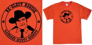 The Dukes of Hazzard re Elect Roscoe T Shirt Police Sheriff Funny 80s