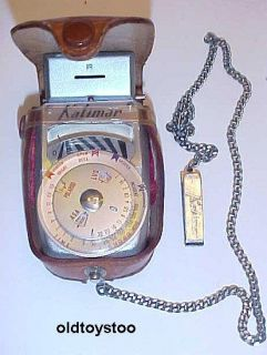 Vintage Kalimar Light Exposure Meter w Leather Case and Chain Japan
