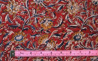 Kalamkari Hand Block Print Cotton Fabric 2½ Yards