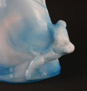 Kanawha Blue Slag Glass Lady with Dog Figurine 933